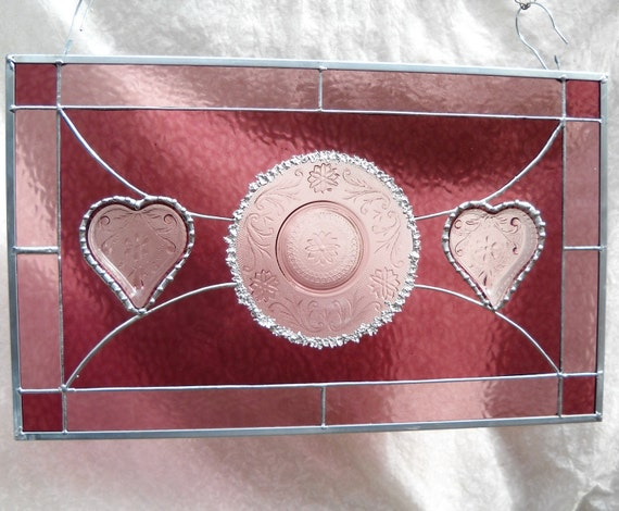 Vintage Tiara Sandwich Glass Stained Glass Plate Panel with Hearts