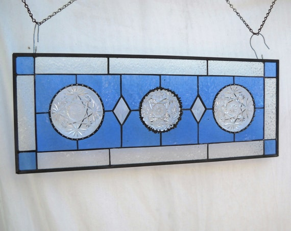 Stained Glass Plate Panel with Depression Glass Oatmeal Coasters in Blue