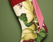 Stunning Tropical Vintage Barkcloth Christmas Stocking