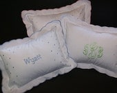 Monogrammed Polka Dot Baby Pillow - Light pink, Baby Blue or White Trim