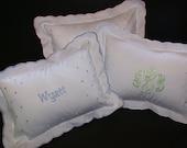 Monogrammed Polka Dot Baby Pillow - Light pink, Baby Blue or White Trim