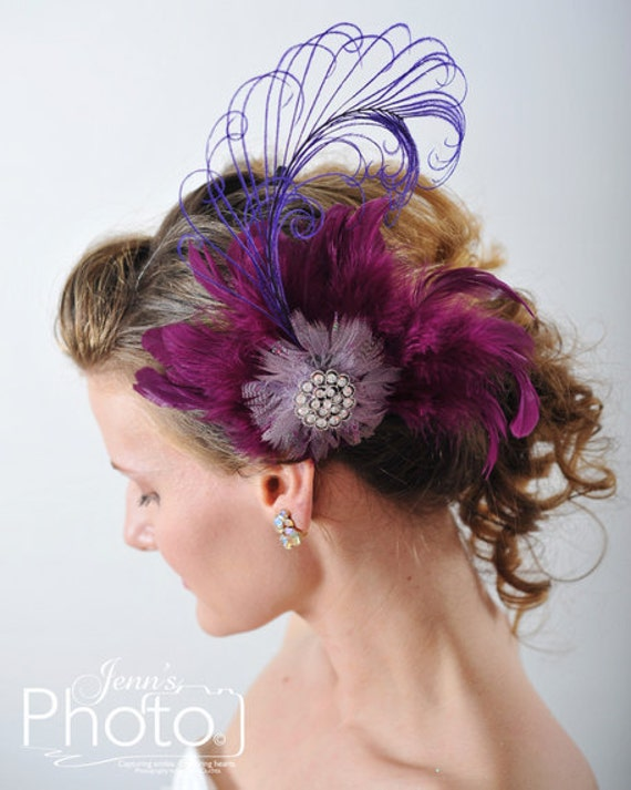 hair bridal accessories, Purple Feathered Fascinator , Bridal Party Headpiece,Fascinator Bridal Headpiece Treasury Featured