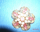 Pink Rhinestones with Opalescent Pink Moonstones Brooch