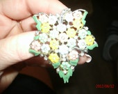 REDUCED-Vintage Spring Bouquet Sweater or Lapel Clasp in Pastel Flowers and Rhinestones