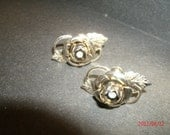 Vintage Goldtone Roses with Faux Rhinestones Against a Leaf and Swirl Design Nonpierced Earbobs