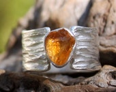 Rough Citrine sterling silver ring