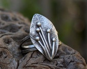 Leaf sterling silver ring,hammered,handmade,rustic.