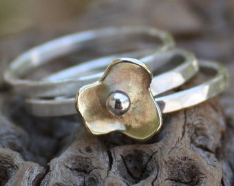 Stacking rings,sterling silver,flower,hammered stackable set