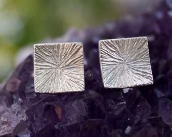 Square texture sterling silver stud earrings handmade post earrings.