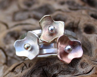 Stacking rings,sterling silver flower set,bouquet,hammered,stackable