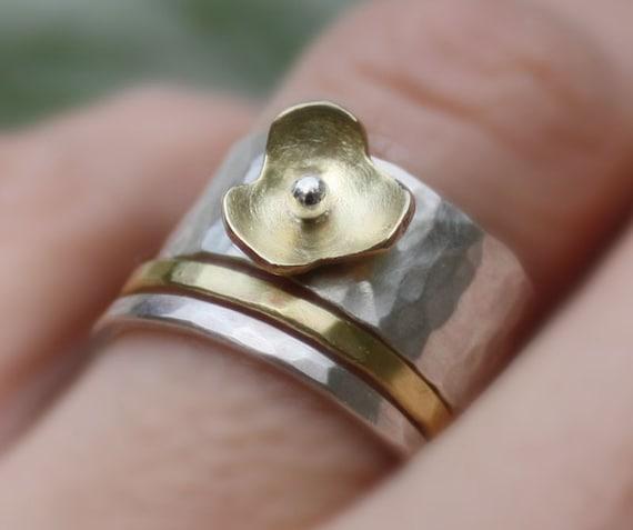 Stacking rings hammered sterling silver,brass,flower,blossom,handmade.