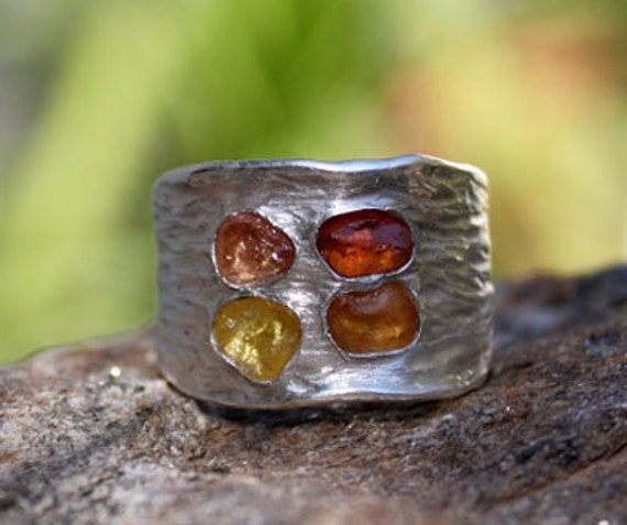 Orange and Yellow rough Sapphire ring