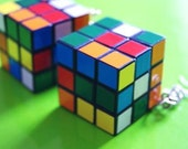 Rubiks/Rubix Cube Toy Earrings Fully Functioning Retro 80s Cool Game