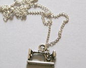Sewing Machine Silver Charm Necklace with link chain Unique Crafts Stitch