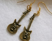 Antique Brass Electric Guitar Charm Earrings Cool Trendy Indie Music Rock n Roll