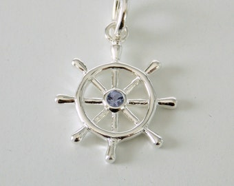 Sterling Silver and Tanzanite Ship's Wheel Pendant