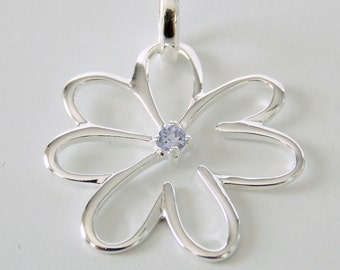Sterling Silver and Tanzanite Flower Pendant