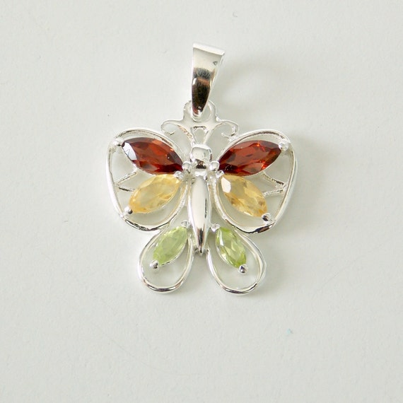 Sterling Silver, Garnet, Citrine, and Peridot Butterfly Pendant