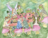 The Fae Tea Party Original  Watercolor Painting