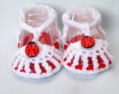 Lady Bug Sandals, Baby Shoes, Booties with Lady Bugs size 0-6 Months