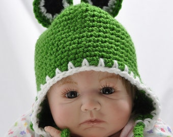 Baby Frog Hat  with Ear Flaps, Baby Animal Hat  in size 6 to 12 Months