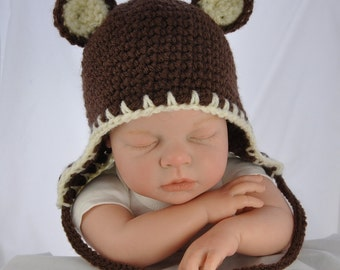 Cotton Teddy Bear Hat with Earflaps in size 0 to 6 months