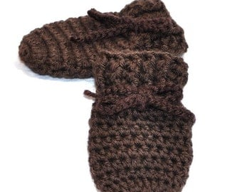 Brown Thumbless Baby Mittens in size 0 to 6 months or 6 to 12 months,