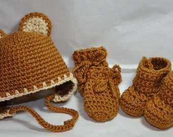 Teddy Bear Earflap Hat in Honey, Mittens and Booties size 0 to 6 Months