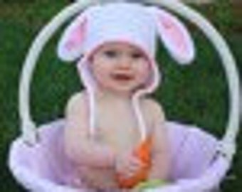 Bunny Hat,  Rabbit Ear Flap - Size 1 to 2 years