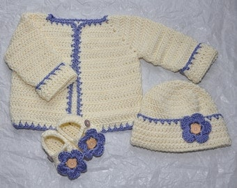 Sweater, Hat and Booties in size 0 to 3 Months made in a Bamboo Blend