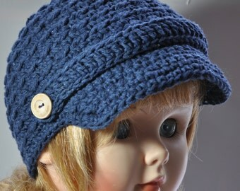 Cotton News Boy Hat in size  6 to 12 months Navy Color