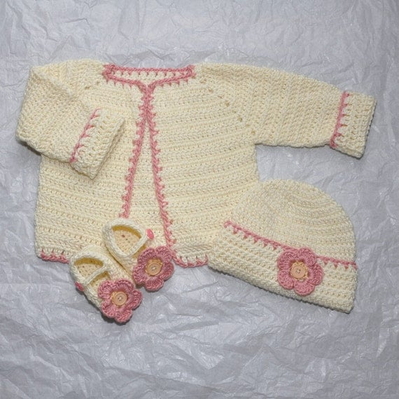Baby Girl Sweater, Hat and Booties in Infant size 0 to 3 Months made in a Bamboo Blend