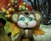 Brown Bear Baby Fae Creature Ooak Art Doll Fantasy Sculpt by Pixiediddles