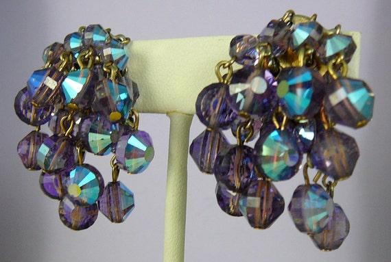 SALE.....SALE....................Stunning Swarovski Crystal Amethyst Earrings
