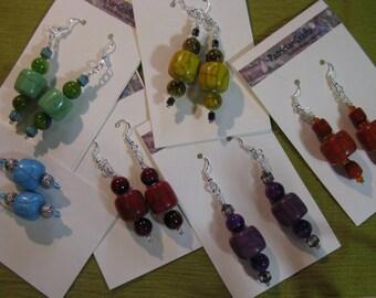 135 Raku Dangle Earrings