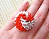 Red And White Duct Tape Rose Ring - Spiral Duck Tape Ring