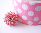 Polka Dot Duck Tape Rose Ring - White and Pink