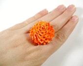 Orange Duct Tape Rose Ring - Neon Duck Tape Flower Ring