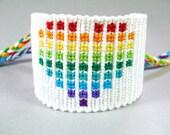 Geeky Rainbow Heart Friendship Bracelet - Black or White