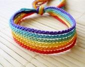 Muted Rainbow Friendship Bracelet Set - Six Handmade Bracelets in Soft Colors
