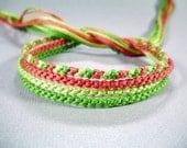 Watermelon Handmade Friendship Bracelet Set - Four Thin Bracelets in Pink and Green