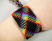 Bright Rainbow Plaid with Black Friendship Bracelet - Wide Handmade Bracelet