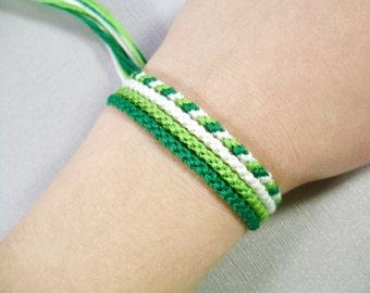 Spring Green Friendship Bracelet Set - Four Handmade Bracelets in White and Shades of Green