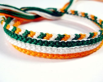 Ireland Friendship Bracelet Set - Handmade Irish Flag Bracelets in Green, White, and Orange
