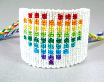 Geeky Rainbow Heart Friendship Bracelet - Black or White