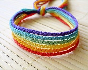 Muted Rainbow Friendship Bracelet Set - Six Handmade Bracelets in Soft Colors