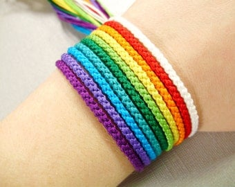 Nine Color Rainbow Bracelet Set with White - Ten Handmade Friendship Bracelets Total