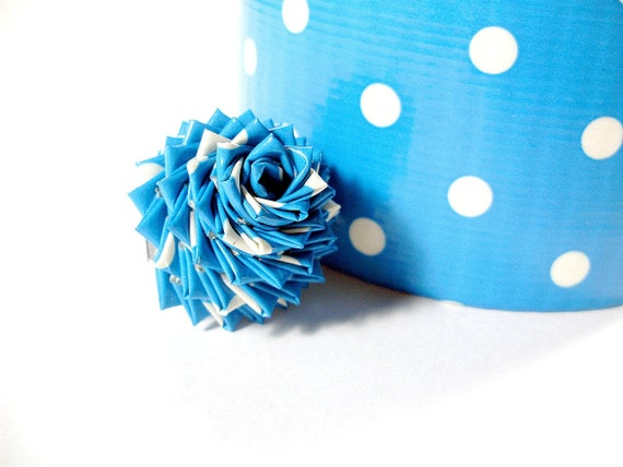 Polka Dot Duct Tape Flower Ring Blue And White By