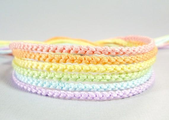 Pastel Rainbow Bracelet Set - Six Handmade Bracelets