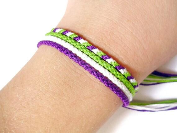 Tiny Friendship Bracelet Set - French Bread and Grapes Knotted Bracelets